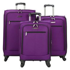 Travelers Choice 3 Piece Lightweight Expandable Spinner Luggage Set Purple - TC08010L