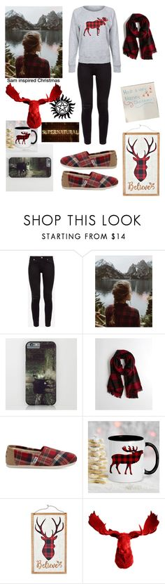 """Sam inspired Christmas"" by apparently-im-ginger ❤ liked on Polyvore featuring Ted Baker, Urban Renewal, Hollister Co., TOMS and White Faux Taxidermy"