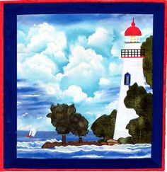 Marblehead Lighthouse applique quilt pattern from Sentries of Light