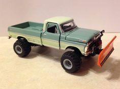 69 Ford F250 Custom Lifted Plow Truck 1:64 Diecast. Snow, Mud, Farm Off Road 4x4 #M2Machines #Ford