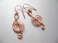 Handsculpted Copper Brass or Silver Aluminum Wire Treble Clef Earrings on Etsy, $11.00