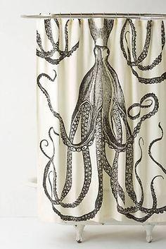Octopus Garden Shower Curtain - eclectic - shower curtains - Anthropologie girls bathroom maybe? Bohemian Shower Curtain, Octopus Shower Curtains, Cool Shower Curtains, Octopus Bathroom, Pirate Bathroom, Decoration Inspiration, Bathroom Inspiration, Bathroom Ideas, 1950s