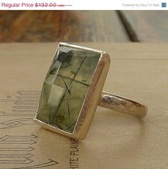 SPRING SALE Prehnite ring Gemstone ring cocktail ring by anakim