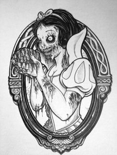 Sick tattoo design - Snow White zombie, hungry for brains. #tattoo #tattoos #ink #inked