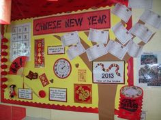 Our Chinese New Year Display including the children's wishes for the new year attached to the wishing tree.