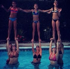 ...you did stunts anywhere you could, like at the pool. | 35 Things Every Cheerleader Will Understand #cheer #cheerleader #cheerleading