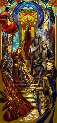 Noldors, descendientes de Finwë, Fëanor y sus hijos: Maehdros y Maglor, y Fingolfin y sus hijos: Fingon y Turgon