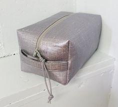 Silver oilcloth travel case / toiletries bag by amarafelicedesigns