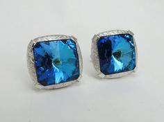Shades of Blue Rivoli Rhinestone Large Cufflinks signed Dante