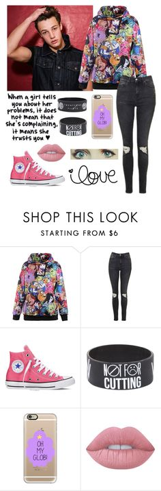 """""""Hanging out w/ Cam!"""" by be-robinson ❤ liked on Polyvore featuring Topshop, Converse, Casetify and Lime Crime"""