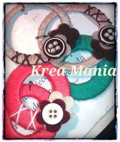 Orecchini, cotone, bottoni e pannolenci