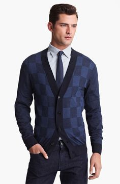 Sean OPry Models Armani Collezioni for Nordstrom...men's shades of blue checkered cardigan.