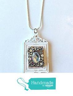 Vintage Style White Framed Rhinestone Pendant Necklace from NatureAngels - Handmade, Upcycled and Vintage http://www.amazon.com/dp/B015HYPBXY/ref=hnd_sw_r_pi_dp_XGNfwb0AR7WY9 #handmadeatamazon