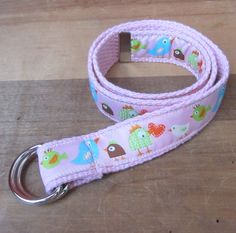 Birds and Hearts D-Ring Belt - Toddler Children Kids - Premium Woven Ribbon on Pink or Brown