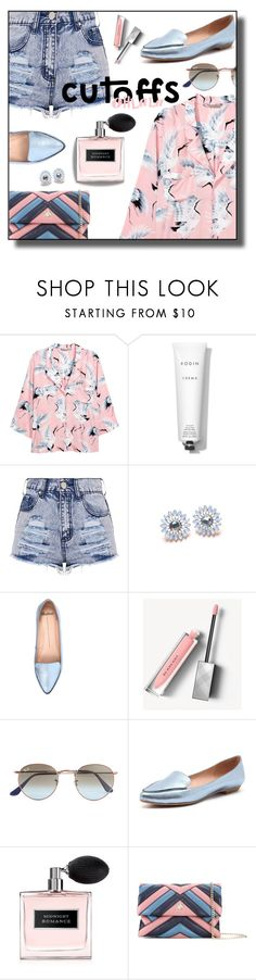 """cutoffs & flats"" by nineseventyseven ❤ liked on Polyvore featuring H&M, Rodin, Mollini, Burberry, Ray-Ban, Ralph Lauren, Lanvin and DENIMCUTOFFS"