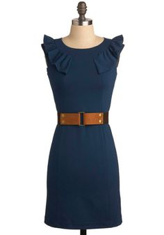 Poised and Pretty Dress - Blue, Brown, Solid, Ruffles, Party, Work, Casual, Sheath / Shift, Sleeveless, Short