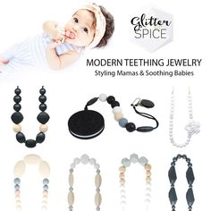 Stylish Teething Necklaces from Glitter & Spice that are safe and fun to chew!   #glitterandspice #teethingnecklace #teether #teethingbaby