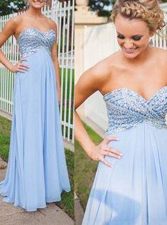 Herrlich A-linie Herzform Ausschnitt Bodenlang Blau Abendkleid Ballkleid mit Strass