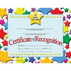 Certificate of Recognition features a colorful star background. These authentic Hayes certificates are a great way to recognize someone for their hard work and dedication. These student certificates also work great as classroom incentives! Certificate Of Achievement, Certificate Of Appreciation, Award Certificates, Preschool Certificates, Employee Appreciation, Appreciation Gifts, Nursing School Scholarships, Best Nursing Schools, Certificate Of Recognition Template