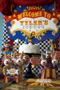 Cute clown cake pops at a vintage circus birthday party! See more party ideas at CatchMyParty.com!