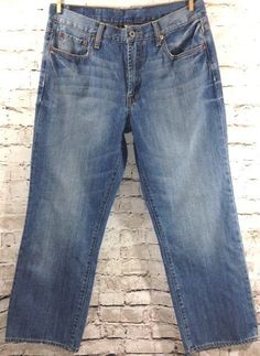 Lucky Brand Gene Montesano Jeans Size 33 x 30 100% Cotton Denim Distressed Wash #LuckyBrand #ClassicStraightLeg
