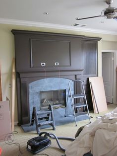 fireplace idea with tv moulding Basement