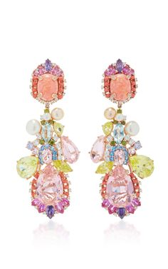 Opal Nereides Earrings by ANABELA CHAN - 18k rose gold and silver, pink opal cabochons, rose tourmalines, amethysts, pink sapphires, canary citrines, green garnets, peridots, blue and white topaz, coral cabochons (=)