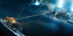 Battleship Movie: USS Missouri Battleship vs. Regent Mothership (alien ship)