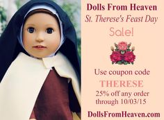 We are having a St. Therese's Feast Day Sale with 25% Entire Store! http://www.dollsfromheaven.com/dfh-blog/dolls-from-heaven-st-thereses-feast-day-sale … #Catholic #PopeinDC #Ccot