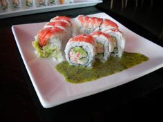 Dinner @ RA Sushi: LOBSTER SHRIMP ROLL - Lobster, cucumber & avocado rolled & topped with shrimp; served with an Asian pesto sauce