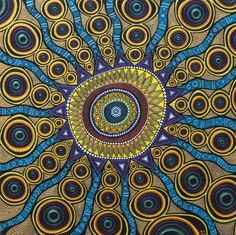 Abstract painting Lorelei by ACunninghamWaltz on Etsy Indigenous Australian Art, Indigenous Art, Aboriginal Dot Art, Sun Art, Happy Paintings, Dot Painting, Fractal Art, Mandala Art, Abstract Art