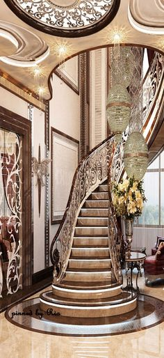 Nadire Atas on Interior Design Staircase Grand Staircase, Spiral Staircase, Staircase Design, Staircase Ideas, Staircase Railings, Villa Plan, Architecture Design, Beautiful Architecture, Beautiful Stairs