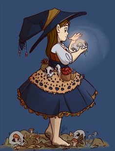 """""""a witchsona of decay - bones and mushrooms and dead leaves and forest beds. Its the CIRRCCLEEE OF LIFEEEEEE"""" Ohhh I love this depiction. Character Concept, Character Art, Concept Art, Illustrations, Illustration Art, Modern Witch, Witch Art, Witch Aesthetic, Character Design References"""