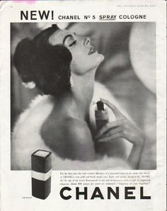 """1958 CHANEL COLOGNE vintage magazine advertisement """"For the first time"""" ~ New! Chanel No 5 Spray Cologne - For the first time the cool modern efficiency of a measured spray in the sleek, chic beauty of Chanel's own gold and black metal case. Light and sturdy, designed by Chanel for the age of air travel. Economical to use and luxurious to own -- a gift of surpassing elegance. About 800 sprays are yours to command -- """"fragrance at your fingertips."""" ~"""
