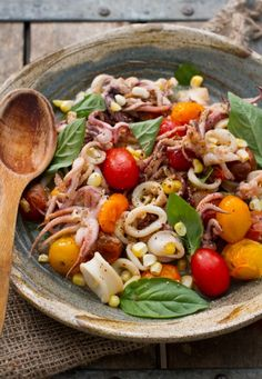 Squid with Burst Cherry Tomatoes--happy to see squid other than fried calamari. :-)