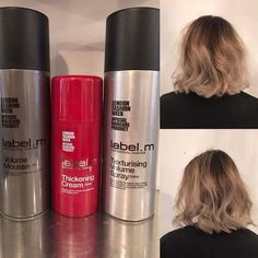 Need ideas to get your hair feeling fuller and more volume? These label m products would be amazing!  Texture spray is a mix between hairspray and dry shampoo to create a bit of hold as well as fullness.  Thickening cream is used on wet hair before blow drying and styling. As you start to dry your hair the thickening cream starts to swell and plump the hair shaft as well as adding shine to your hair.