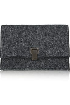 Proenza Schouler The Lunch Bag small felt and leather clutch   NET-A-PORTER
