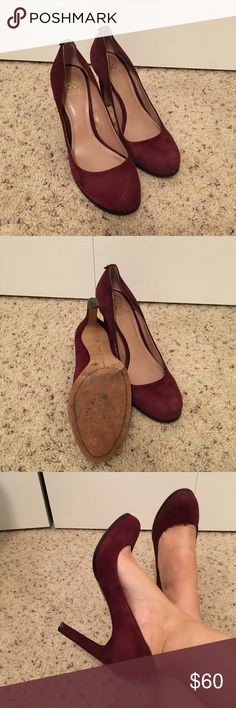 """Vince Camuto Jensen burgundy suede pump, sz 10 Size 10, approx. 4"""" heel. Deep burgundy/oxblood color. Very comfy, worn to a few dinners & banquets, great for fall and winter outfits. Left insole is curling near heal. Not accepting trades, paid $110 new, asking $60. Feel free to make an offer. Vince Camuto Shoes Heels"""