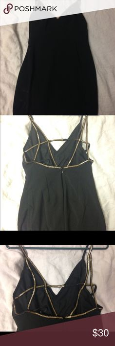 LBD with gold stitching Short, black dress with cross-cross gold bead straps. Pretty tight and super flattering with a little flair! Dresses Mini