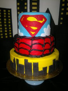 Superman, Spiderman, Batman Birthday Cake