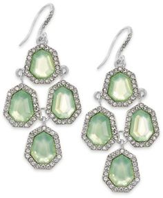 Charter Club Silver-Tone Mint Stone and Crystal Chandelier Earrings