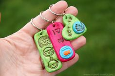 stamp clay, keychain, gift ideas, clay jewelri, clay charms