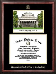 MIT Embossed Gold Foil Seal Graduate Diploma Frame with Imprinted Lithograph - 2017 Graduation Diploma Frame  *** IT IS VERY IMPORTANT TO PROVIDE US WITH THE EXACT DIMENSIONS AND ORIENTATION OF YOUR DIPLOMA IN THE CUSTOMIZATION BOX MESSAGE! ***  Officially Licensed Collegiate product  Premium Wood Moulding Frame  Diploma opening shows the current bachelors degree size for your school  Can be customized to accommodate any size diploma