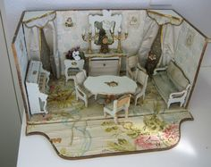 Antique French Miniature Dollhouse  Roombox