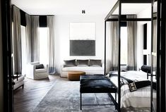 A muted palette of alternating black and white rooms lends a pleasing rhythm to this sophisticated Melbourne home with French and Belgian influence. Melbourne Apartment, Melbourne House, Dyi, Modern Victorian, Décor Boho, Home Trends, White Rooms, Home Decor Shops, Contemporary Bedroom