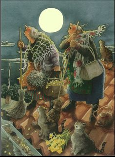 Inge Löök - Easter witches. Howling at the moon! What attitude...I love it!
