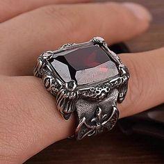 z&X® estilo punk gothick titânio anel vintage declaração dos homens de aço (2 opções de cores: vermelho, preto) de 2276094 2016 por €23.51