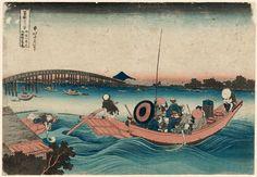 Artist: Katsushika Hokusai Title:Viewing Sunset over Ryôgoku Bridge from the Onmaya Embankment (Onmayagashi yori Ryôgoku-bashi no sekiyô o miru), from the series Thirty-six Views of Mount Fuji (Fugaku sanjûrokkei) Date:1830-31