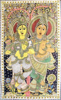 Radha Krishna - The Divine Lovers - Kalamkari Painting from Andhra Pradesh, India