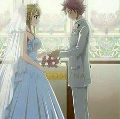 Lucy, Natsu, wedding, dress, suit, outfits, flowers, couple; Fairy Tail